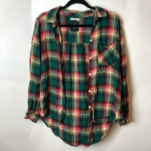 American Eagle Green/Red Plaid Button Down